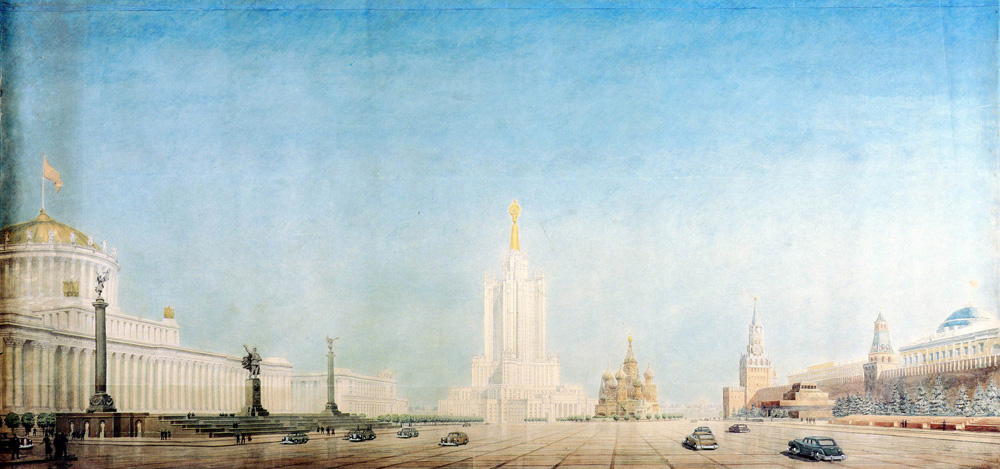 In 1947, the Soviet government issued a decree on the construction of high-rise buildings in Moscow. By the early 1950s, high-rise buildings had been built on Lenin Hills, Smolensk Square, Lermontov Square, Komsomolskaya Square, Kutuzovsly Prospect, Kotelnicheskaya Embankment, and Vosstaniya Square. Only the construction of a 32-storey administrative building in Zaryadye, slated as one of the main landmarks of the city center skyline, was not complete.