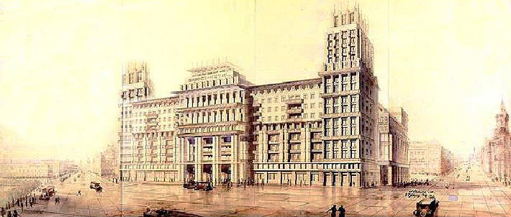 In 1931, Moscow City Council launched a closed tender for the construction of a 1000-room hotel, intended to be the most luxurious of its time. Of the six bids received, the project of young architectural duo L. Savelyev and O. Stapran was selected. The Moskva Hotel, as it became known, was completed in 1934.