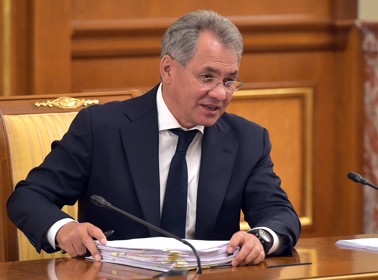 Russia's Defense Minister Sergei Shoigu attends a meeting of the Russian Government
