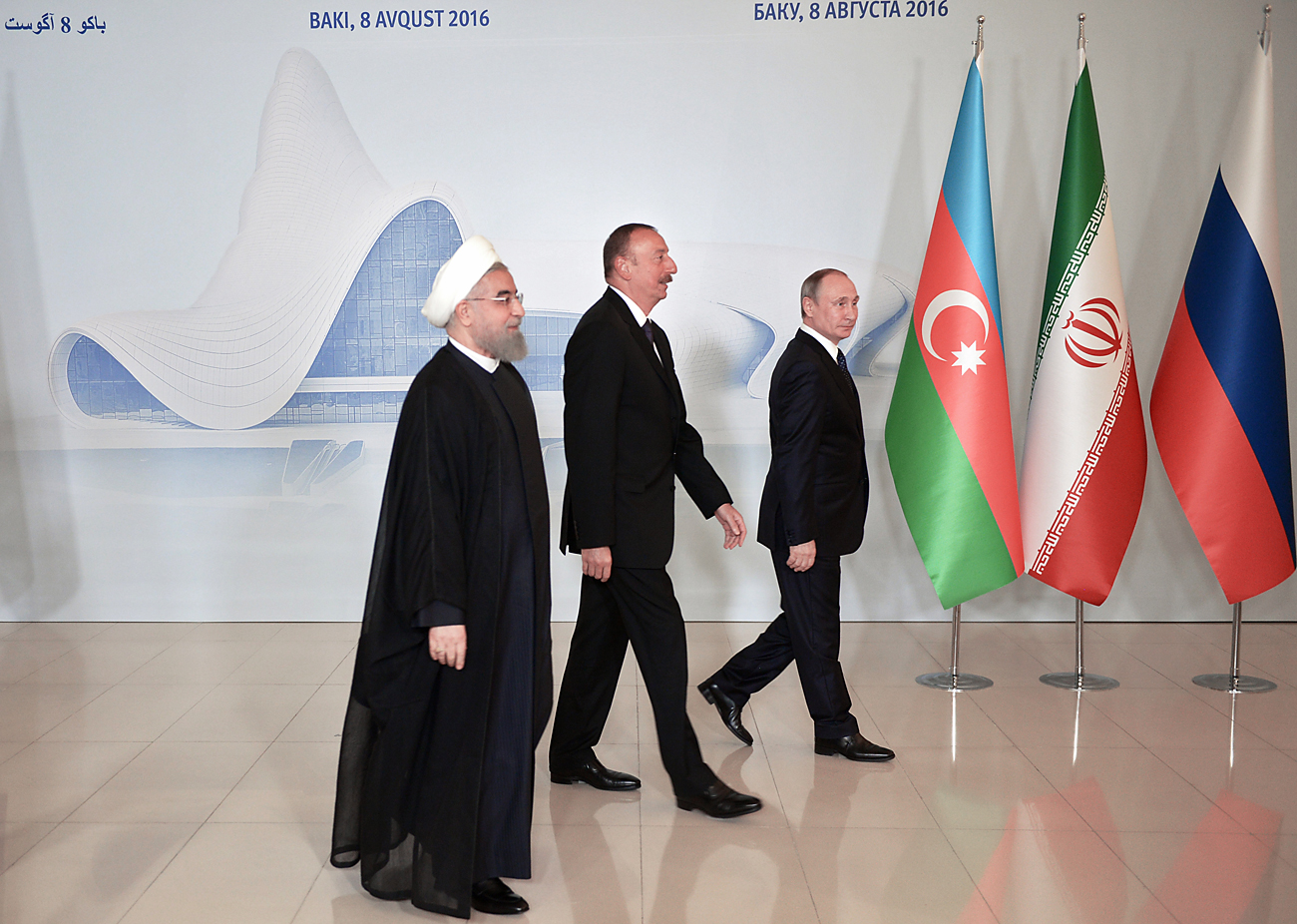 Russian President Vladimir Putin, President of Azerbaijan Ilham Aliyev and Hassan Rouhani, President of the Islamic Republic of Iran, during a photo session prior to the beginning of the trilateral meeting in Baku, on Aug. 8, 2016.