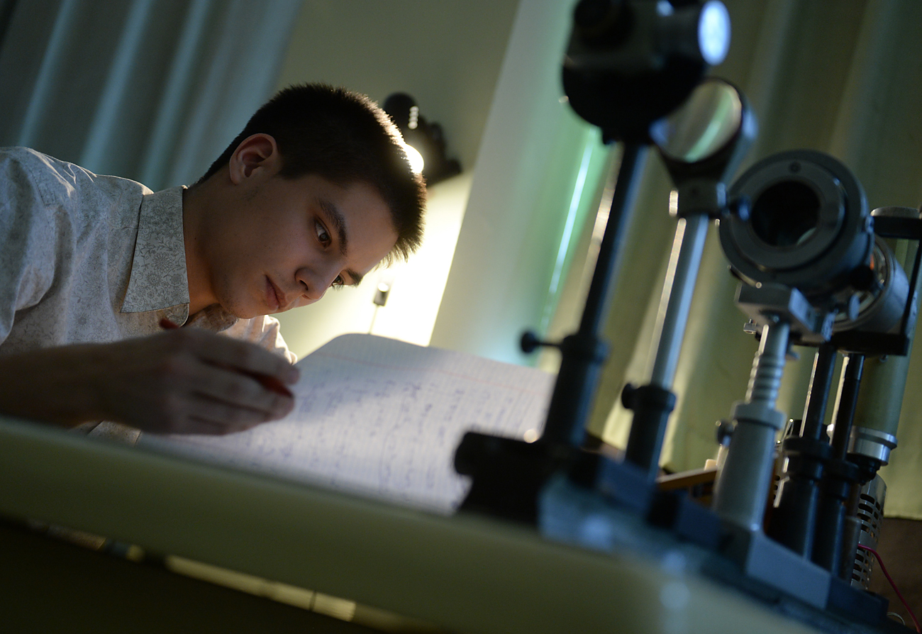 A student doing a research at the Moscow Engineering Physics Institute.