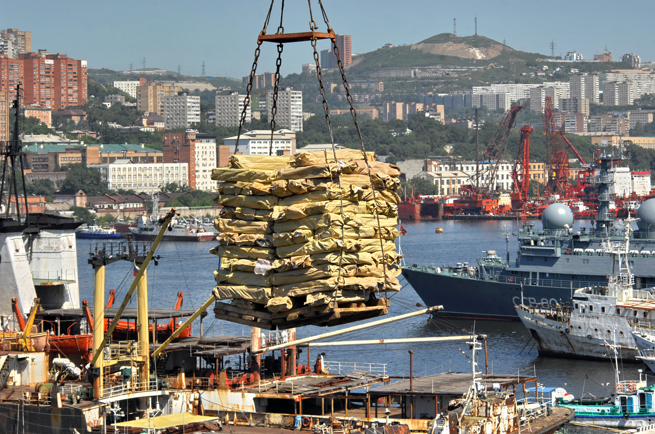 Unloading fish in the Vladivostok harbour.