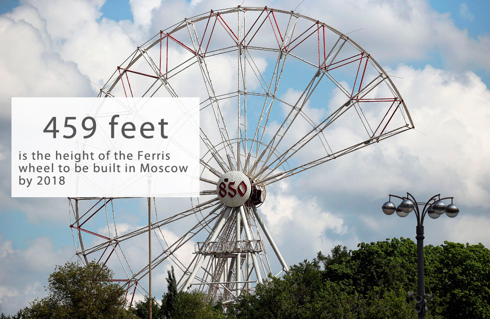 "Europe's largest Ferris wheel is to be built at Moscow's exhibition and amusement park VDNKH, M24.ru reports. According to the press department of the fairground, the new complex, with a total area of almost seven hectares, is to be located near the southern entrance of the park.The gigantic 459-foot-high (140-meter) wheel is designed to have 30 closed cabins, including three ""superior"" ones, each with a capacity of 20.  The glass-walled cabins will offer a 360-degrees bird's eye view over Moscow.For visitors' comfort each cabin will be equipped with air-conditioning and a heating system, which also means the wheel will operational all year round in any weather. The complex will be able to accommodate 600 people at a time and will complete a full rotation in 25 minutes.Promoters say that guests will be shown a 4D-movie about the history of the wheel. Also, each cabin will have a guide to answer visitors' questions.The old 240-foot-high (73-meter) Ferris wheel at VDNKH was dismantled in July 2016. The new one will be the largest in Europe and one of the largest in the world, competing with the 541-foot (165-meter) Singapore Flyer in Singapore and the famous 443-foot (135-meter) London Eye.In pictures: Russian Ferris wheels, ghosts from the Soviet past>>>"