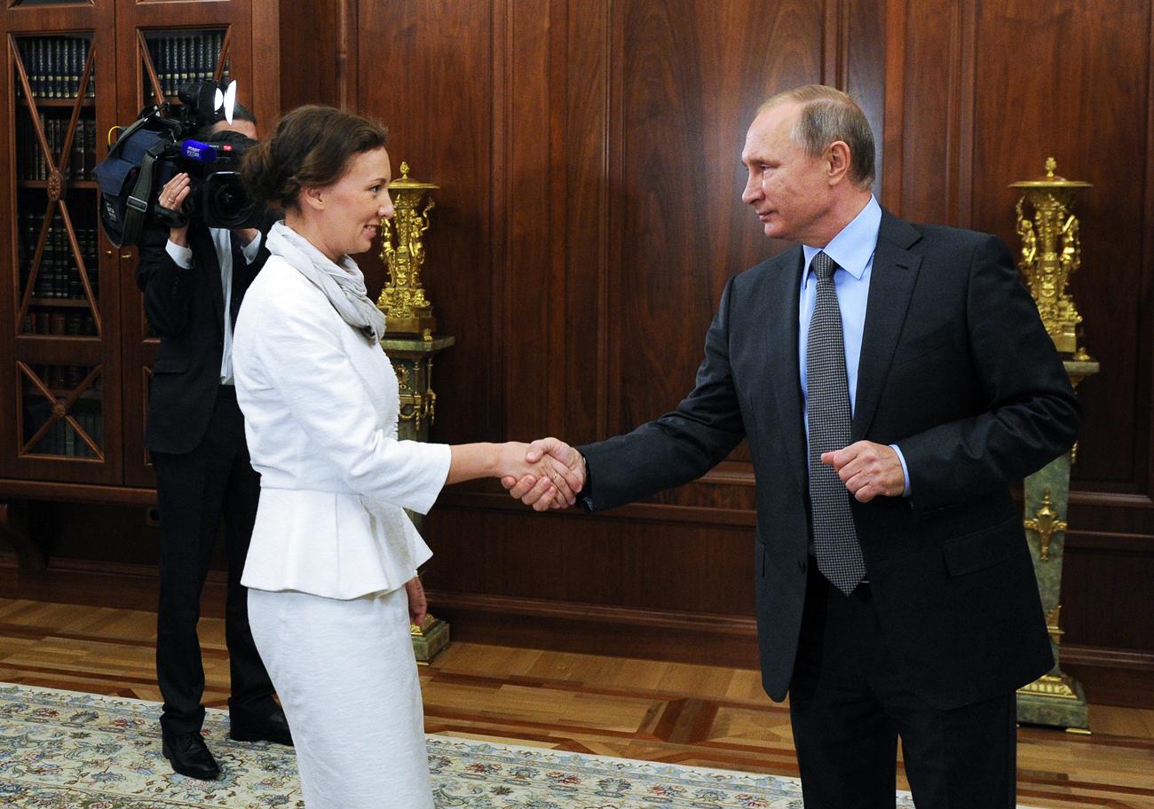 Anna Kouznetsova et Vladimir Poutine, le 9 septembre 2016.