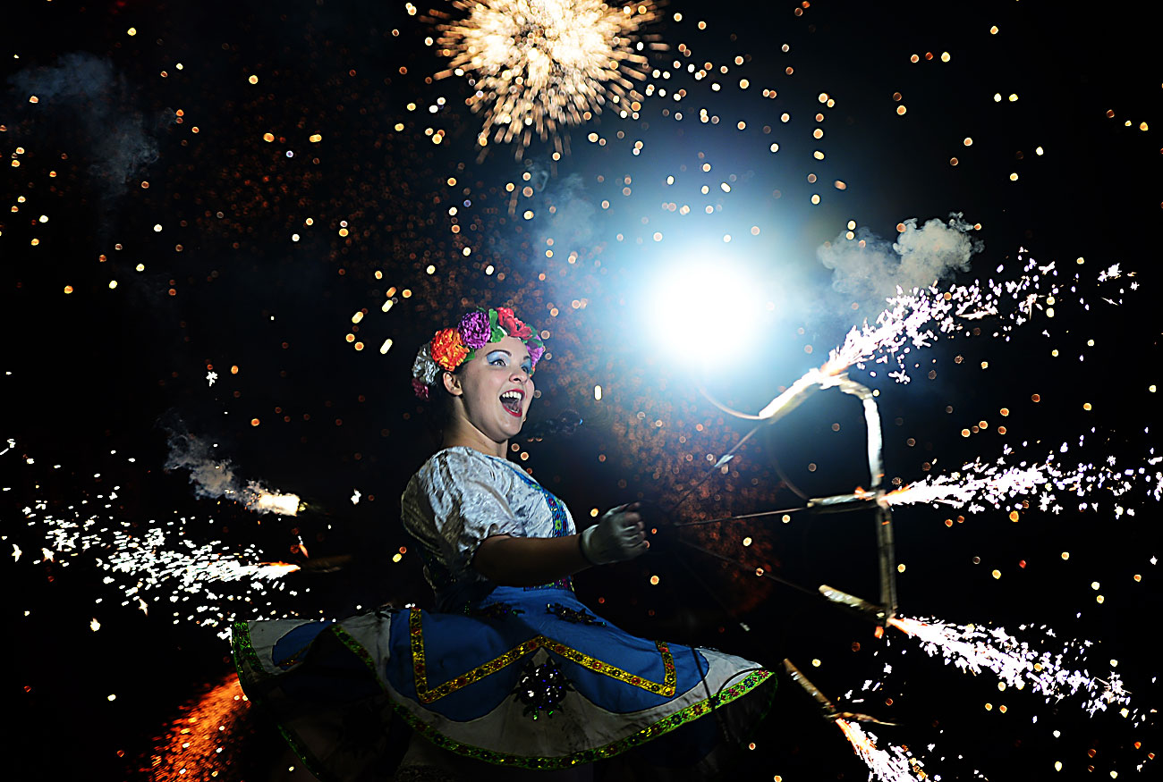 Russia. September 10, East fire festival in Vladivostok. One of the participants is performing at the festival.