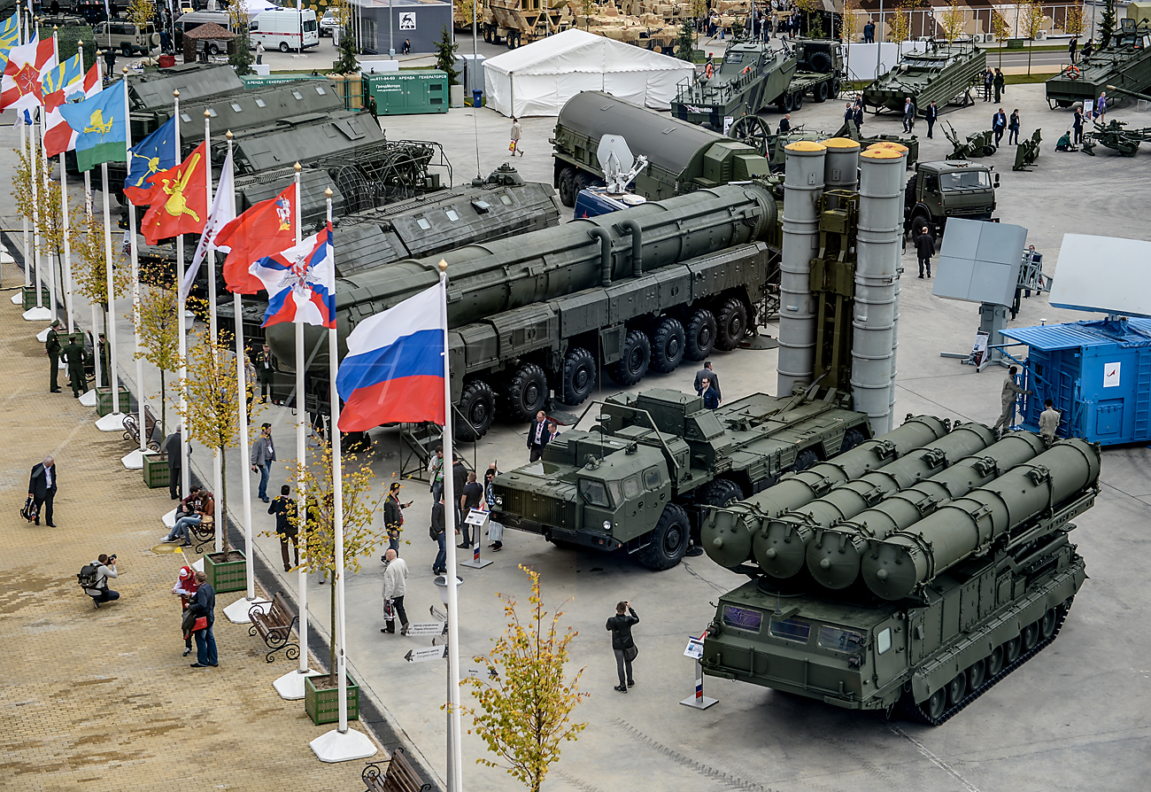 Military machines displayed during the international military-technical forum ARMY-2016 at the Patriot Congress and Exhibition Center in the Military Patriotic Park of Culture and Recreation of the Russian Armed Forces, near Moscow.