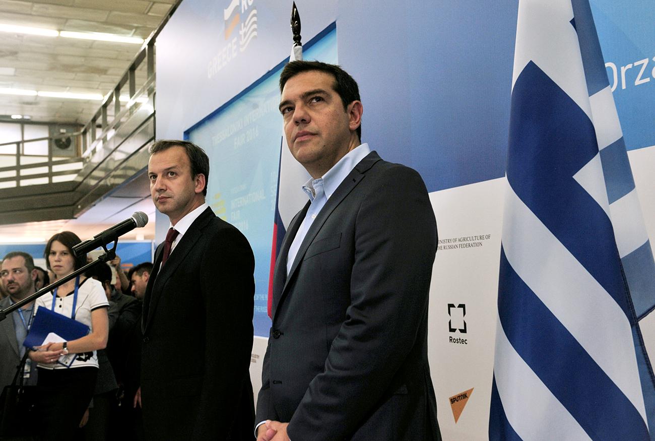 Podpredsednik ruske vlade Arkadij Dvorkovič in grški predsednik vlade Aleksis Cipras na Rusko-grškem poslovnem forumu v Solunu. Vir: AFP/East News