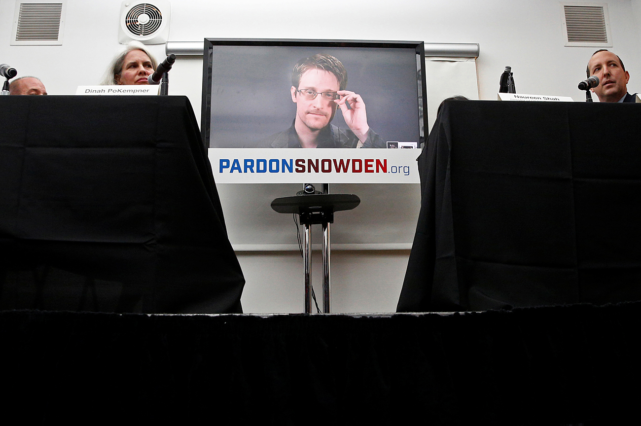 Edward Snowden speaks via video link during a news conference in New York City, U.S., Sept. 14, 2016.