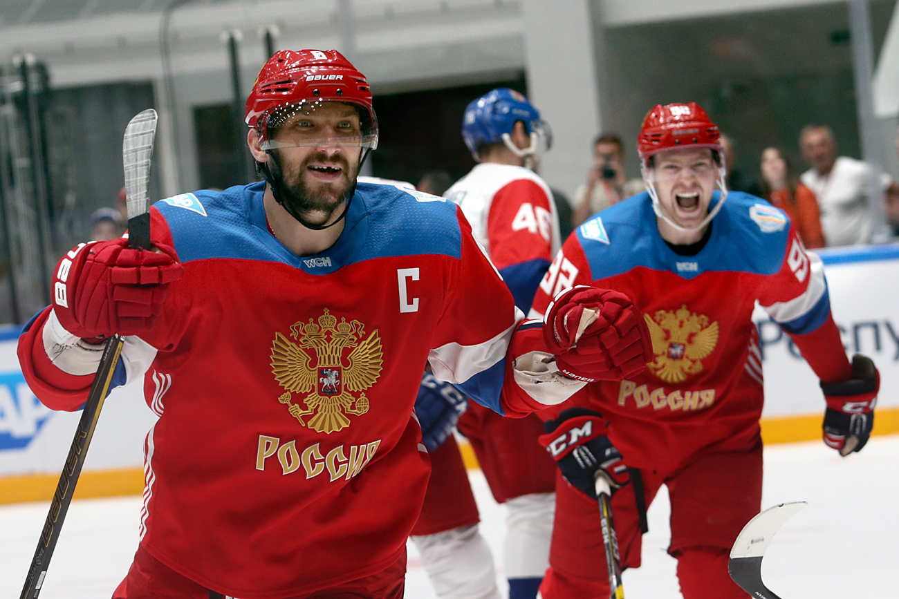 Team Russia forward Alexander Ovechkin in action during the IIHF World Championship pre-tournament game between Russia and Czech Republic at the Yubileiny Palace in St. Petersburg.