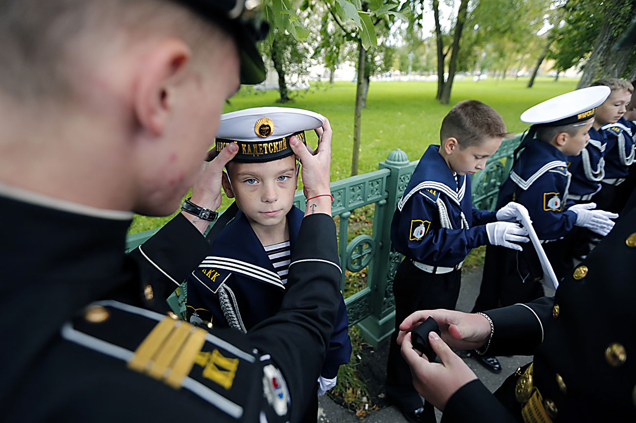 Cadets of the Kronstadt Naval Cadets College attend a ceremony of initiation into cadets in Kronstadt, outside St. Petersburg, Russia, 17 September 2016. First Naval cadets college was established in Kronstadt on the initiative of the St. Petersburg Government, on 22 November 1995.