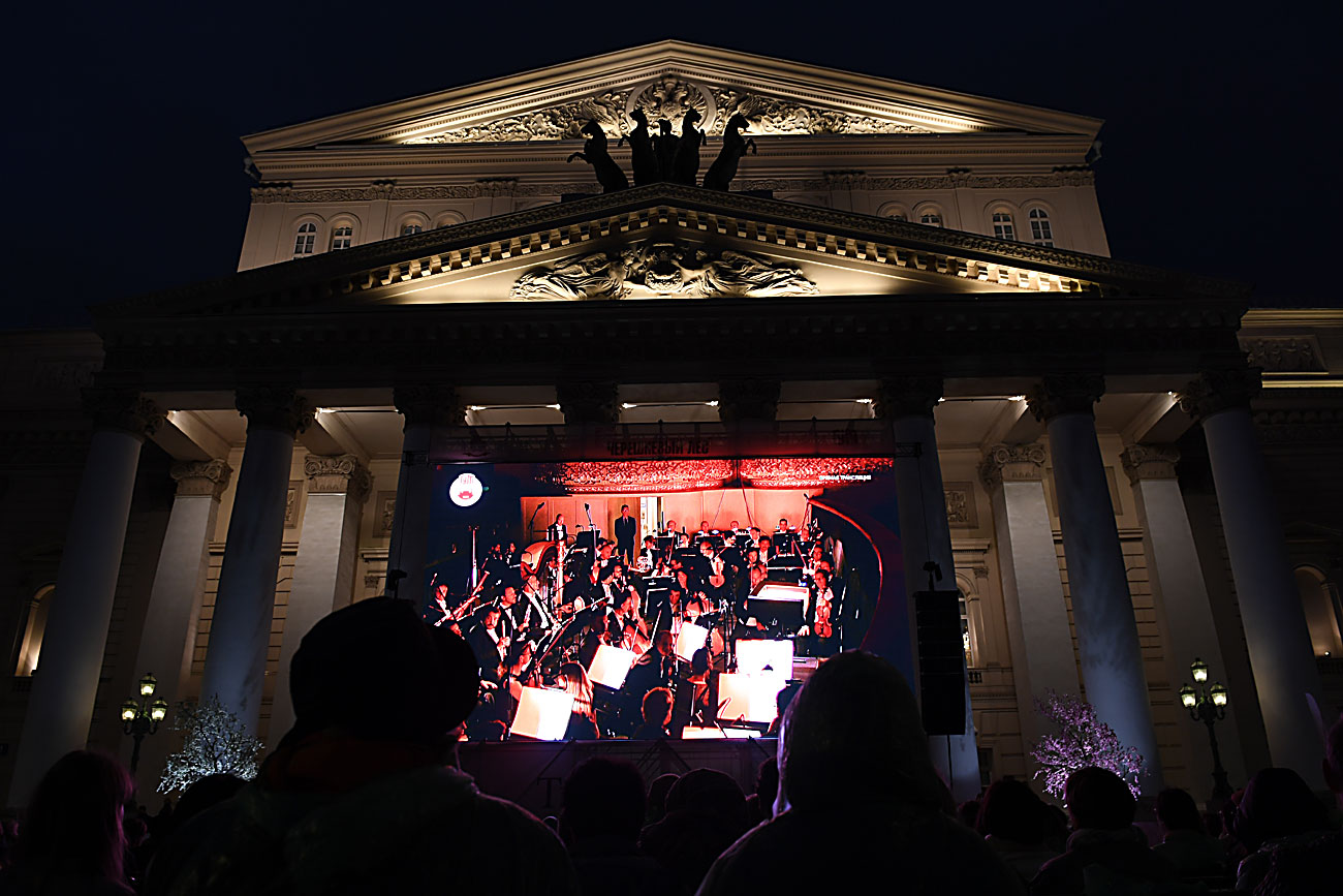 Live broadcast of Giuseppe Verdi's Simon Boccanegra from the Bolshoi Theatre on Teatralnaya Square in Moscow. The event closes the La Scala tour in Moscow during the Black Cherry Orchard open arts festival.