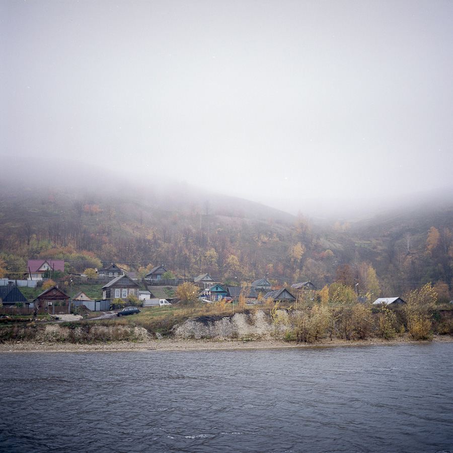 """In my opinion, the landscape reflects the people and their way of life. A large river, slowly flowing, adds some stability to life,"" says Baburov. / A small settlement near Kazan."