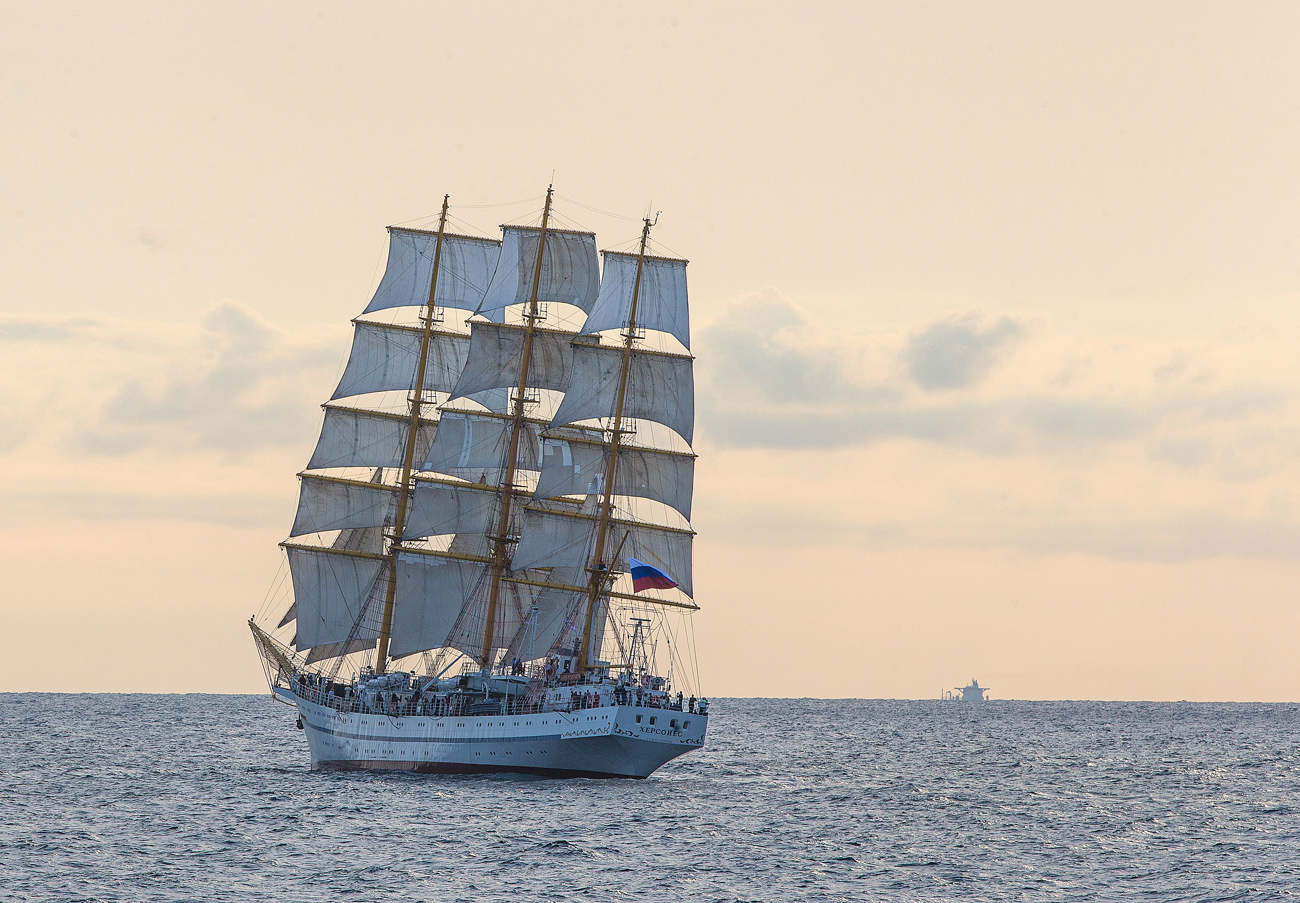 "Three-masted training sailing vessel ""Khersones"" in Novorossiysk sea regatta stage SCF Black Sea Tall Ships Regatta 2016"