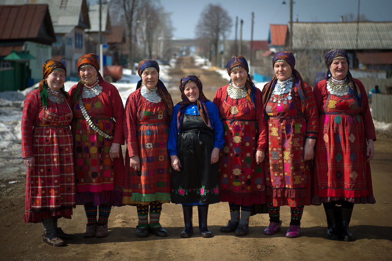 Seven (7) members of the Udmurt folk ensemble 'Buranovskiye Babushki' (The Buranovo Grannies, or Grannies from Buranovo)