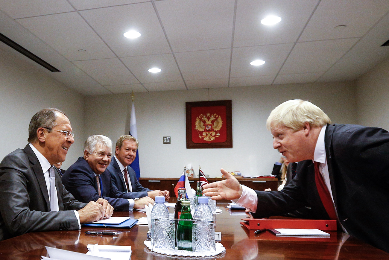 Russian Foreign Minister Sergey Lavrov and British Foreign Secretary Boris Johnson during a meeting at UN Headquarters, Sept. 20.