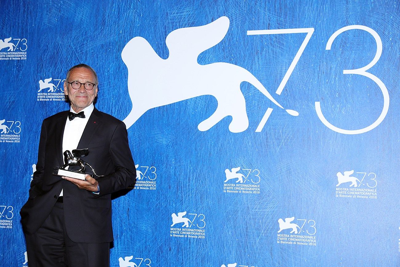 Director Andrei Konchalovsky poses with the Silver Lion for Best Director for 'Paradise' during the award winners photocall during the 73rd Venice Film Festival at Palazzo del Casino on Sept. 10, 2016 in Venice, Italy.