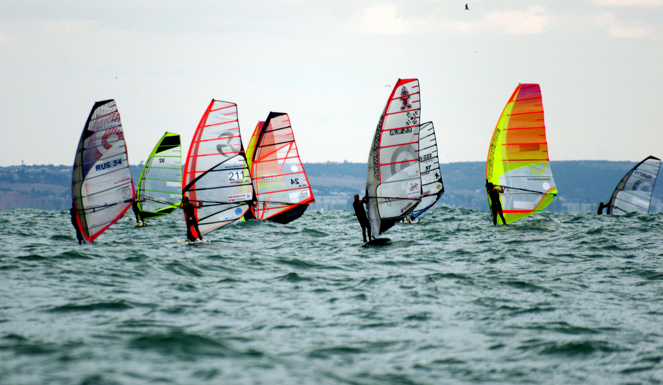 "A participant in the ""Omega bay cup 2016"" windsurfing contest in Sevastopol"