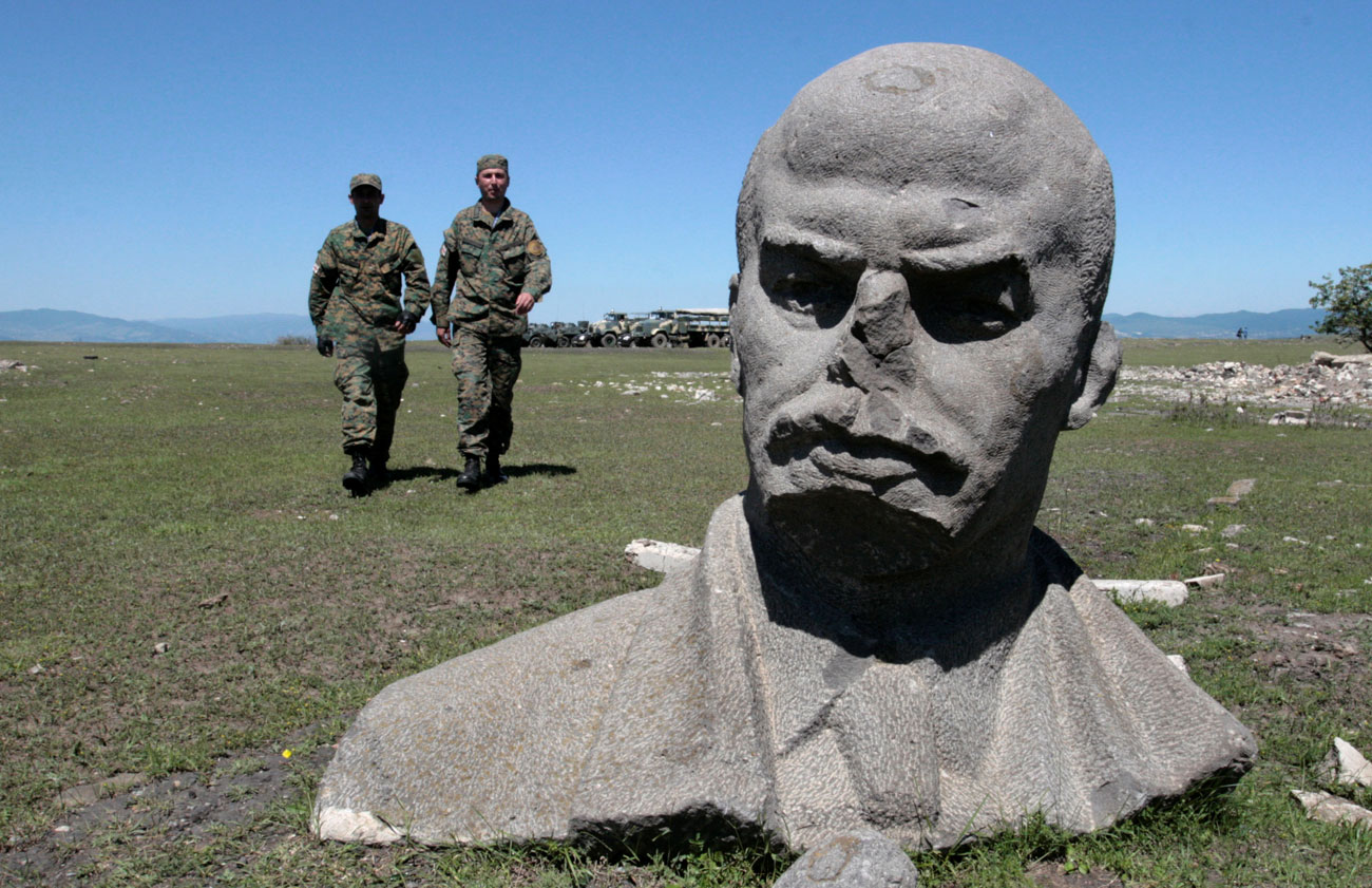 Relic of the past: a broken statue of Lenin at Vaziani military base, a former Soviet military facility, near Tbilisi, Georgia.