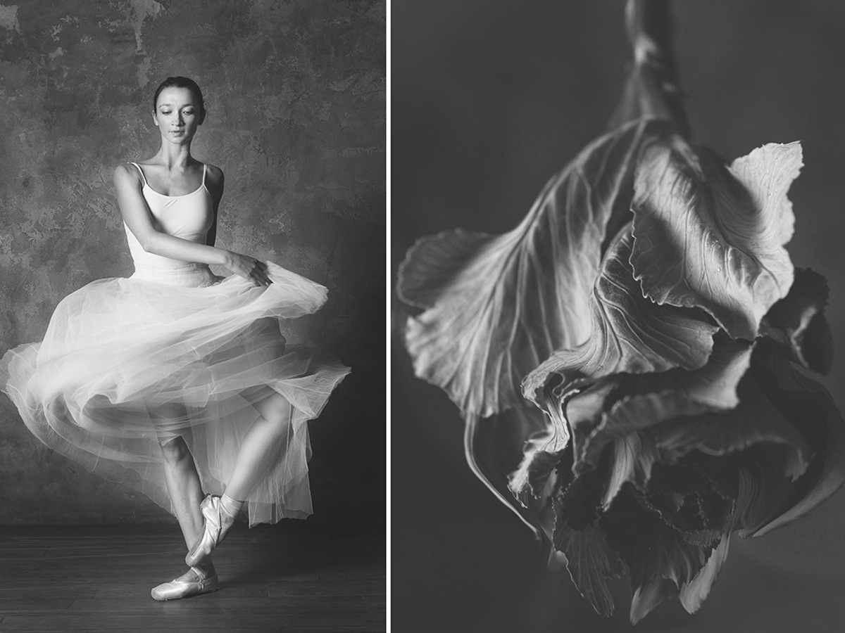 "Comparing women to flowers is a traditional motif in European and Asian culture. ""Working on the photo series I thought of what lasts longer — the moment when a flower is motionless or the gesture of a ballerina? Nature creates perfect forms and inspires art to replicate them."" says Yulia Artemyeva describing her photo project. The visual mimesis is conveyed by the near mirror image of a flower's shape and a ballerina's gesture captured in photos."