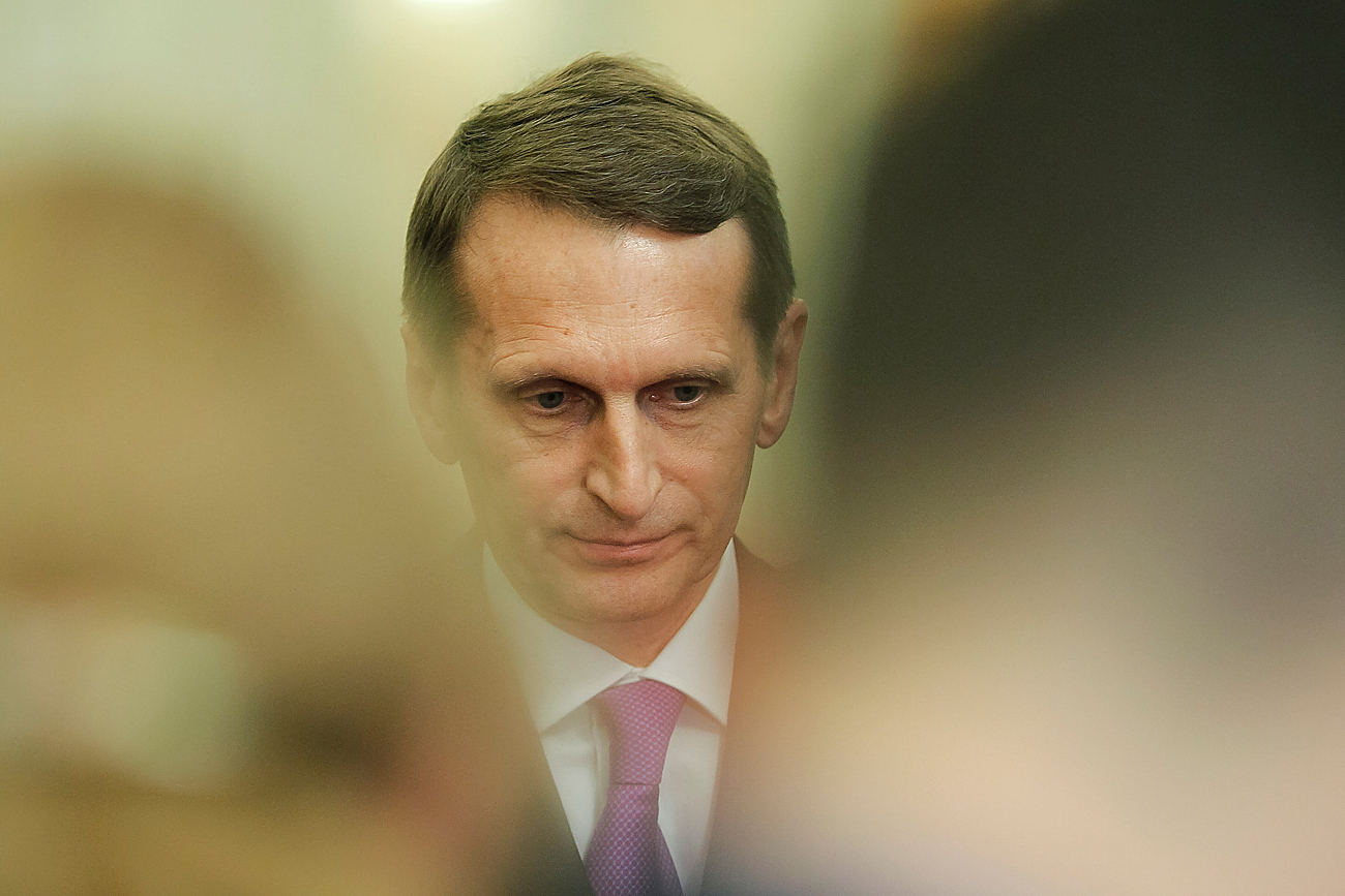 Sergei Naryshkin speaks to the media at the Parliamentary Assembly of the Black Sea Economic Cooperation, in Bucharest, Romania, November 27, 2015.