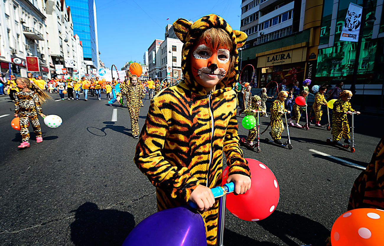 VLADIVOSTOK, RUSSIA – SEPTEMBER 25, 2016: A child dressed as a tiger takes part in a carnival parade marking Tiger Day.