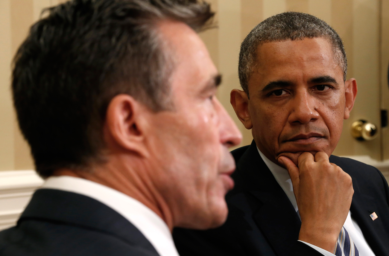 U.S. President Barack Obama meets NATO Secretary General Anders Fogh Rasmussen in the Oval Office of the White House in Washington on May 31, 2013. Source: Reuters