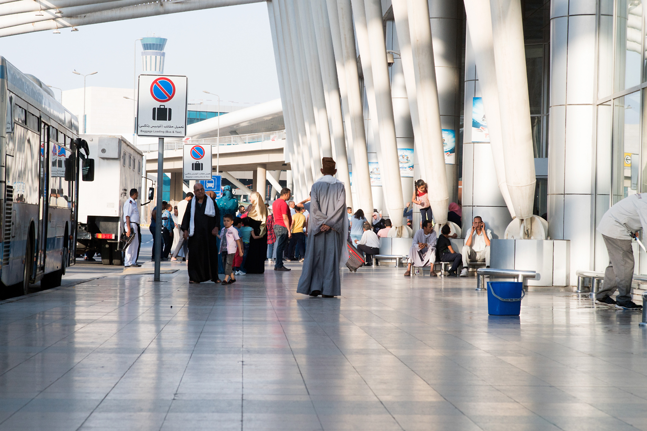 Travelers at the Cairo International Airport, Egypt.