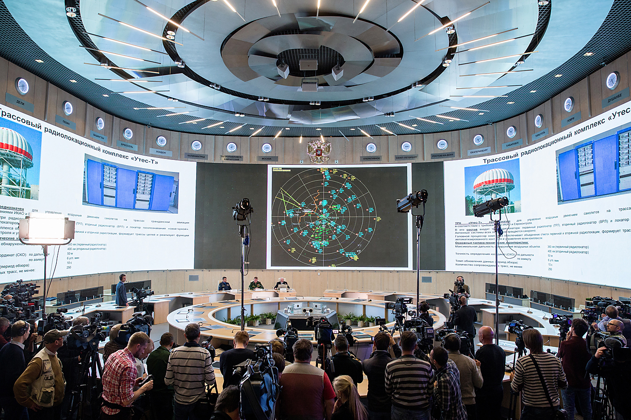Russia's Ministry of Defence and defence industry representatives give a press briefing on raw radar data discovered at the crash site of the Malaysia Airlines Boeing 777 plane operating flight MH17, Sept. 26, 2016.
