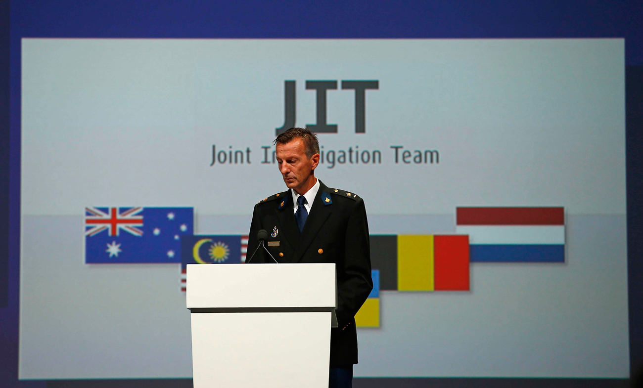 Wilbert Paulissen of the Joint Investigation Team (JIT) speaks on the preliminary results of the investigation into the shooting-down of Malaysia Airlines jetliner flight MH17 during a press conference in Nieuwegein, Netherlands, Sept. 28, 2016.