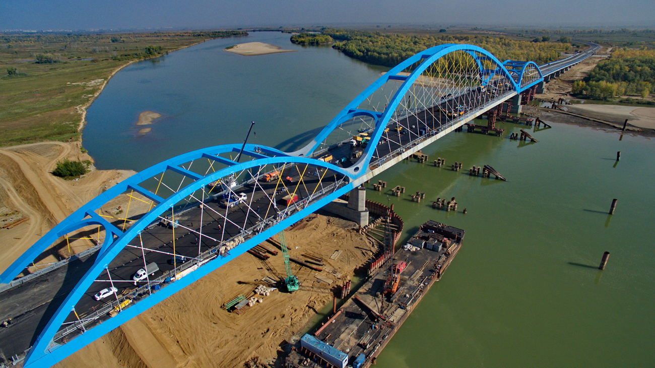 "Company ""Mostostroi-11"" finishes construction of the longest bridge in Central Asia that is a part of Astana-Pavlodar-Kamenogorst highway which will form a united transportation route connecting Russia, Kazakhstan, and China."