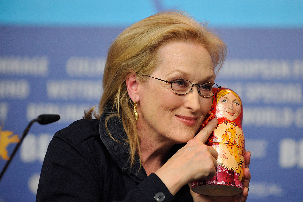 "Decorating Matryoshkas is a chance to show creativity: there are many dolls depicting politicians, both Russian and foreign, movie stars, LGBT ""rainbow"" colors, dolls with architectural landmarks, yellow Lego faces, Russian winter landscapes, icons, Father Frost (Russian Santa), characters from Russian fairytales … Or actress Meryl Streep."
