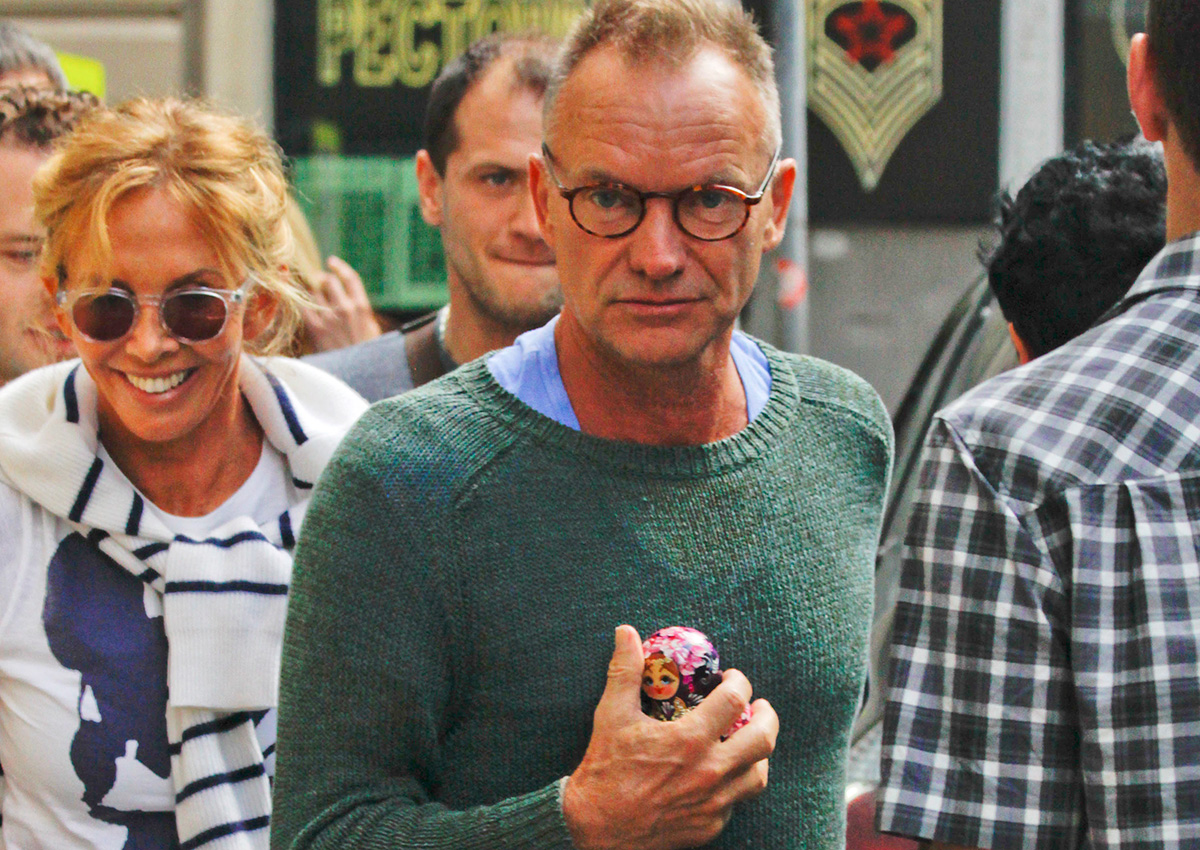 Many movie stars and singers seem to think the same. / Singer Sting with a Matryoshka doll, presented by a fan, as he walks along a street in Moscow, 2012.