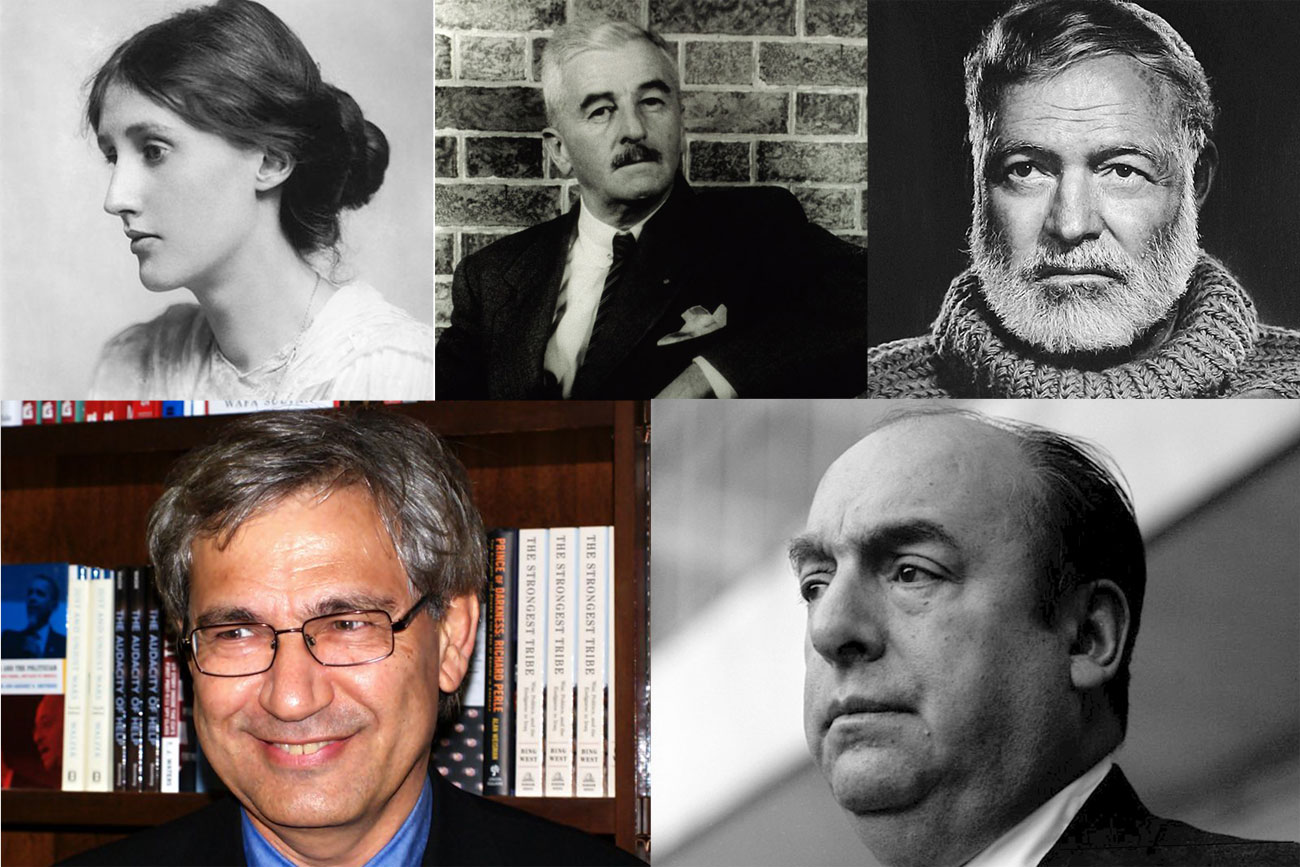 Above L-R: Viriginia Woolf, William Faulkner; Ernest Hemingway; Below L-R: Orhan Pamuk; Pablo Neruda