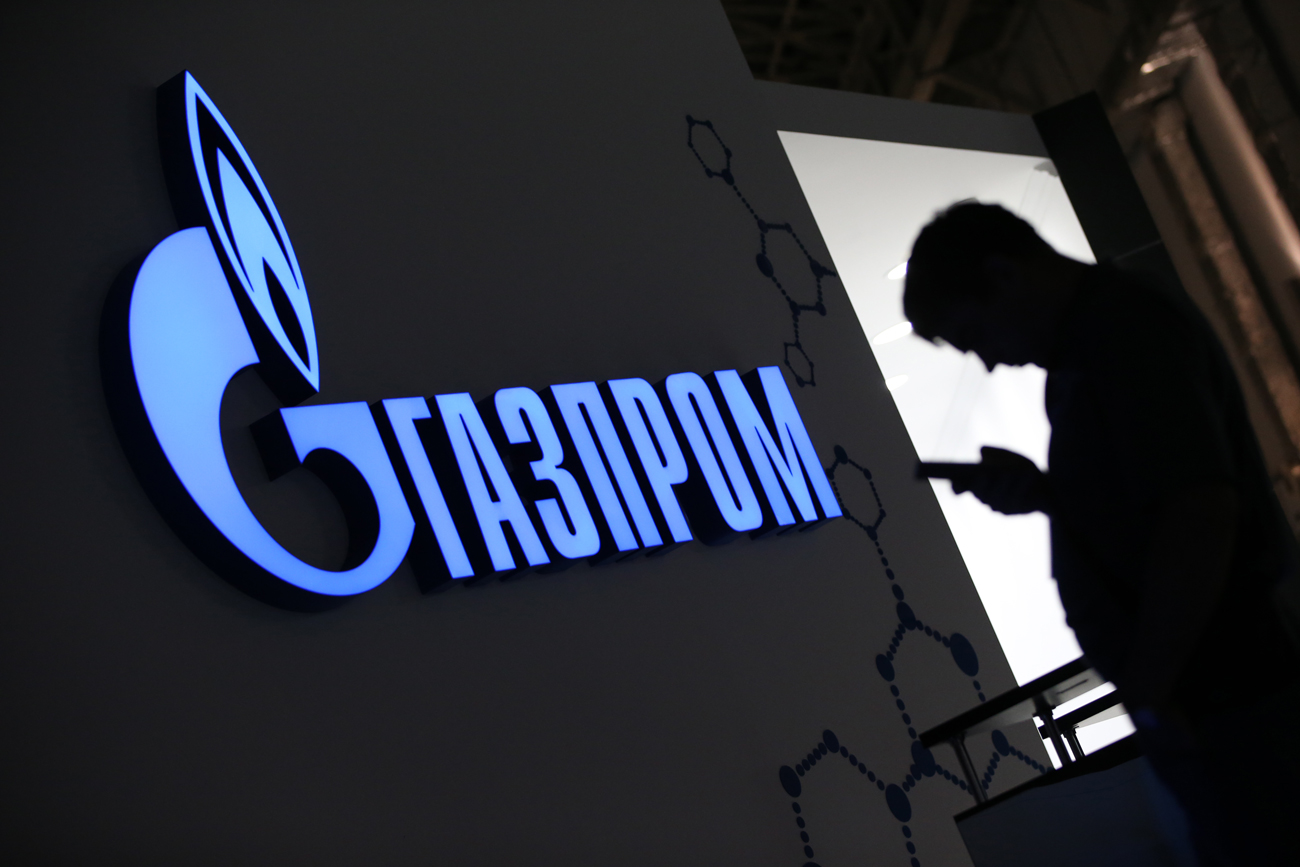 The Gazprom sign at the 2016 Sochi International Investment Forum.