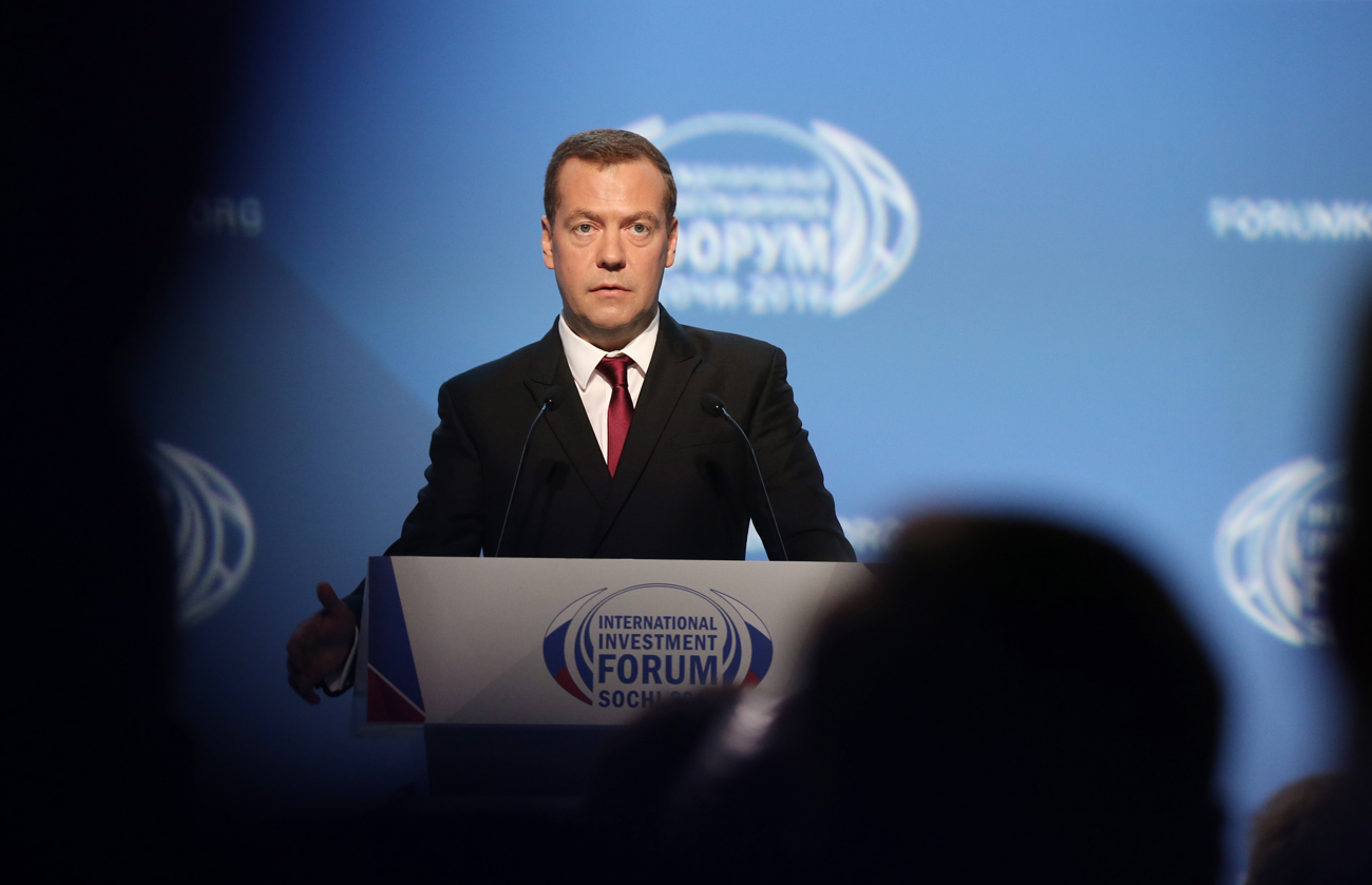 "Russia's Prime Minister Dmitry Medvedev addresses a plenary session titled ""A New Standard in Public Administration: Projects for Growth, Projects for Life"" as part of the 2016 Sochi International Investment Forum at the Main Media Center in the Olympic Park, Sept. 30, 2016."