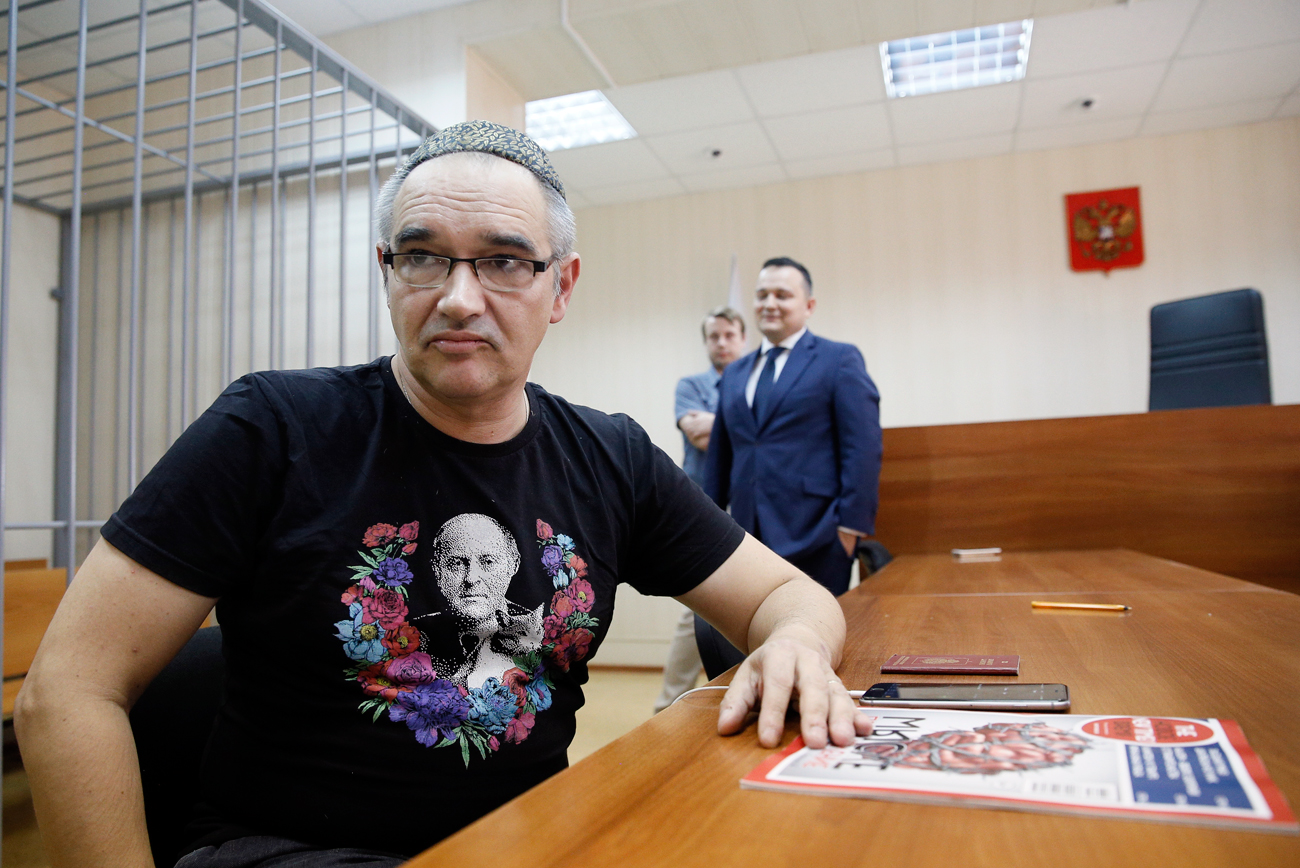 Nosik who holds Russian-Israeli citizenship pleaded not guilty. Photo: Anton Nosik awaits the verdict in the courtroom in Moscow, Russia, on Oct. 3.