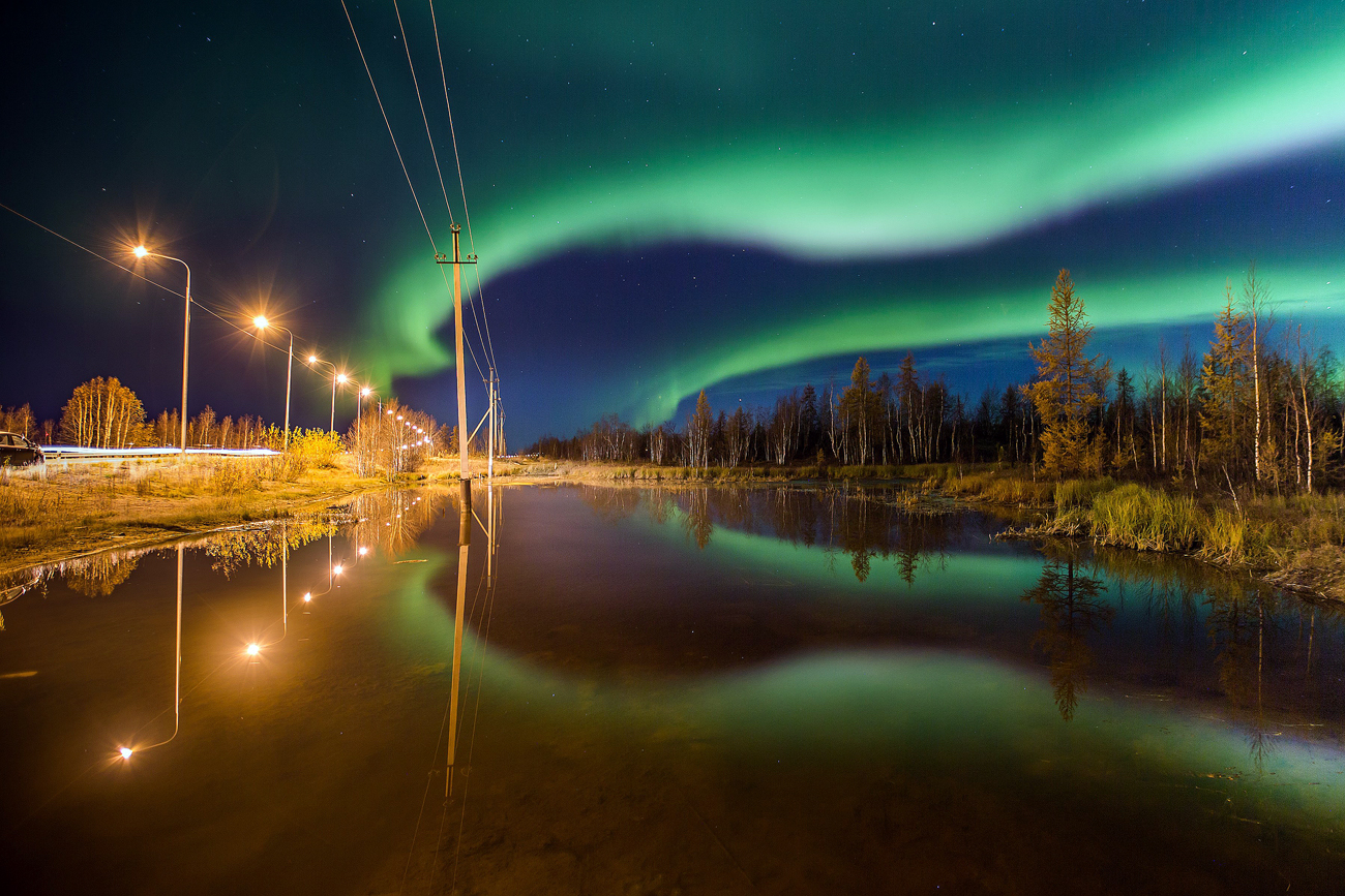 Colorful northern light is seen during autumn in Salekhard, Yamalo-Nenets Autonomous Okrug in Russia