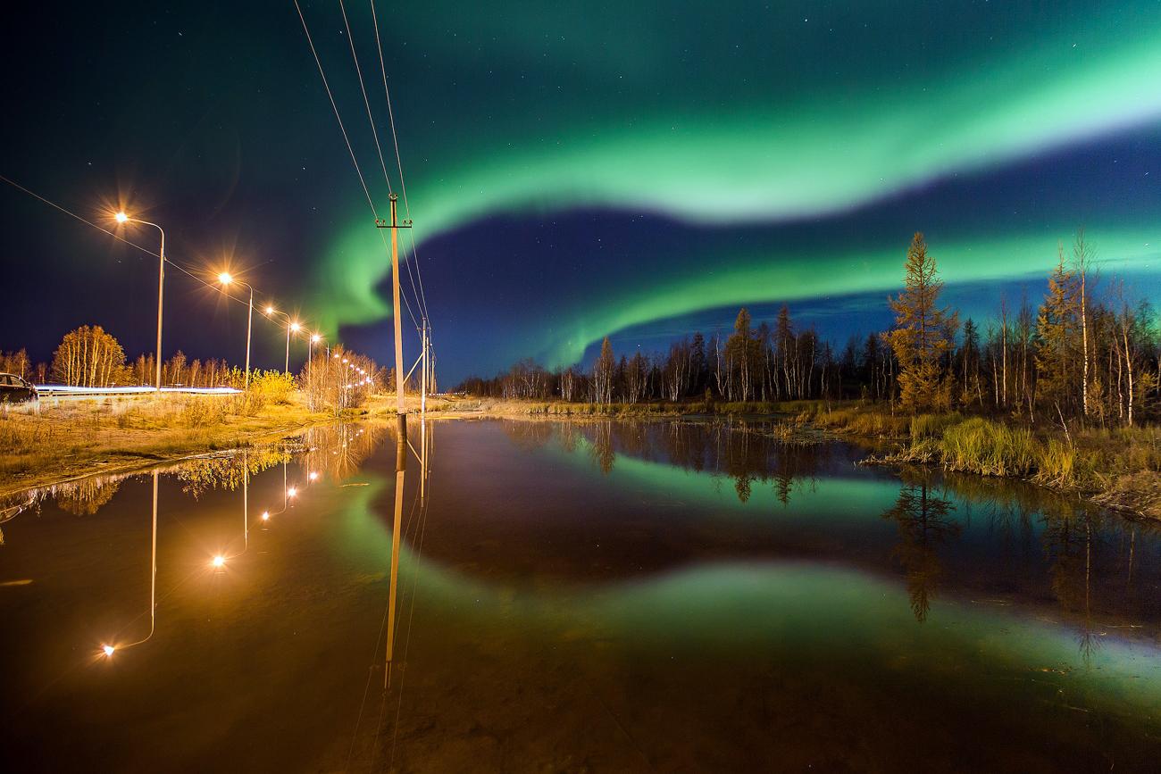 Есенска поларна светлина во Салехард, Јамало-Ненетски автономен округ во Русија.