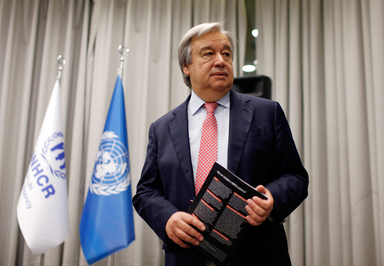 U.N. High Commissioner for Refugees Antonio Guterres arrives to speak during a news conference in Istanbul, Turkey, Thursday, June 18, 2015.