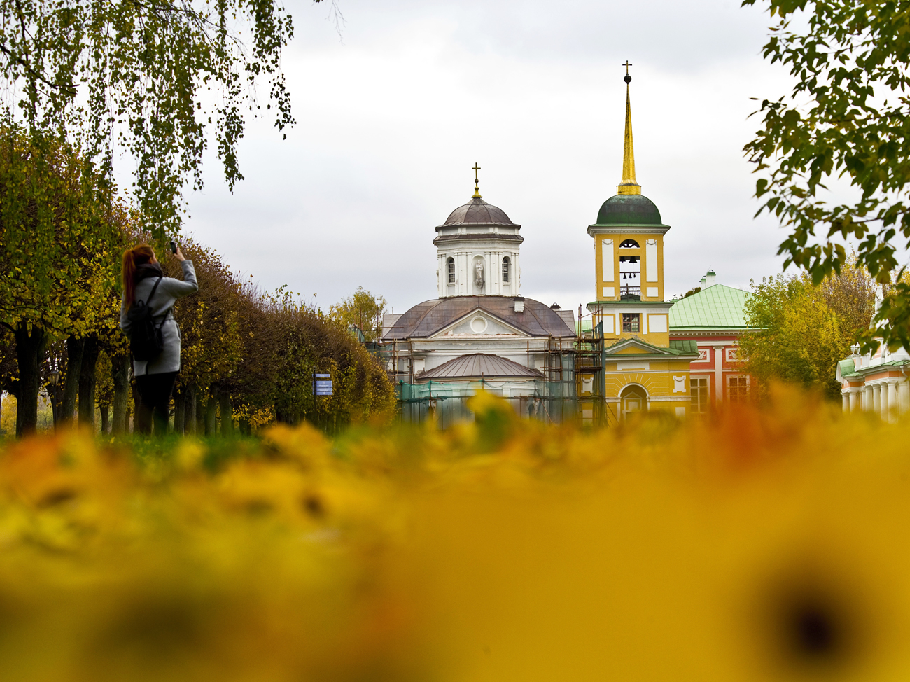 "A church is seen at the ""Kuskovo"" estate museum in Moscow, Russia."