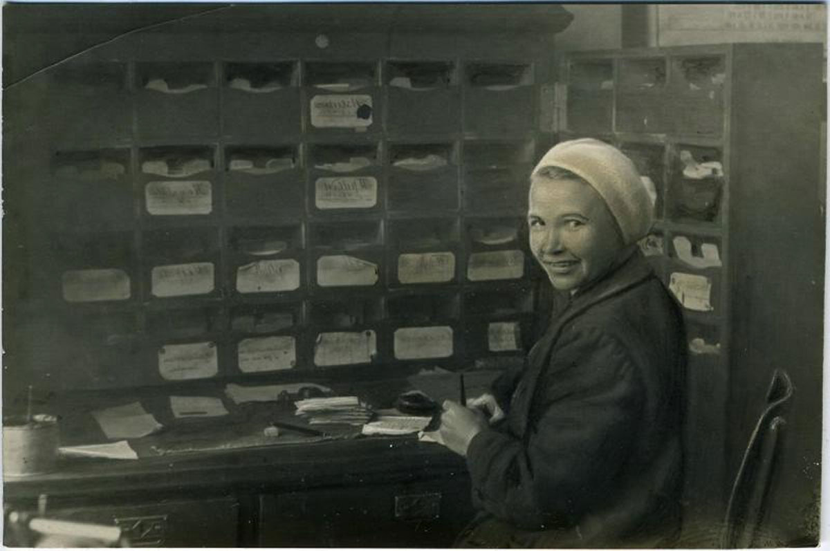 1938. A post office worker in Ivanovo (345 km northeast of Moscow).
