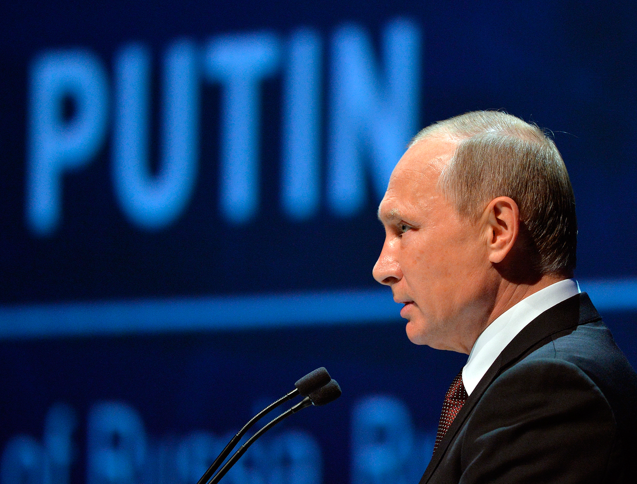 Russian President Vladimir Putin delivers a speech at the World Energy Congress, in Istanbul, Monday, Oct. 10, 2016. Putin is set to meet Turkey's President Recep Tayyip Erdogan, as the two push ahead with steps toward normalizing ties that were strained by Turkey's downing of a Russian warplane near the border with Syria last year