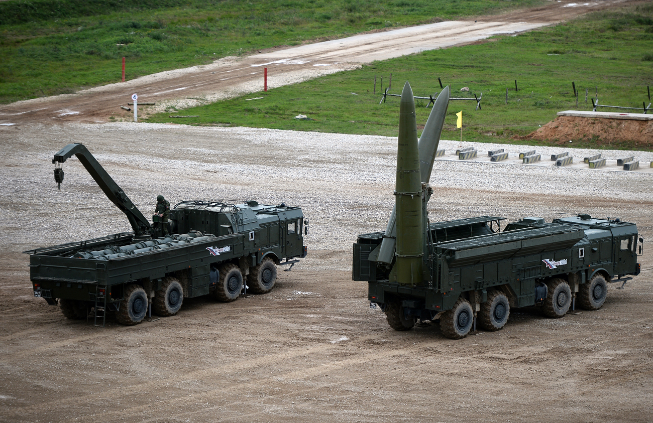 An Iskander-M missile system, right, during the military machinery show at the Alabino training ground held as part of the international military-technical forum ARMY-2016.