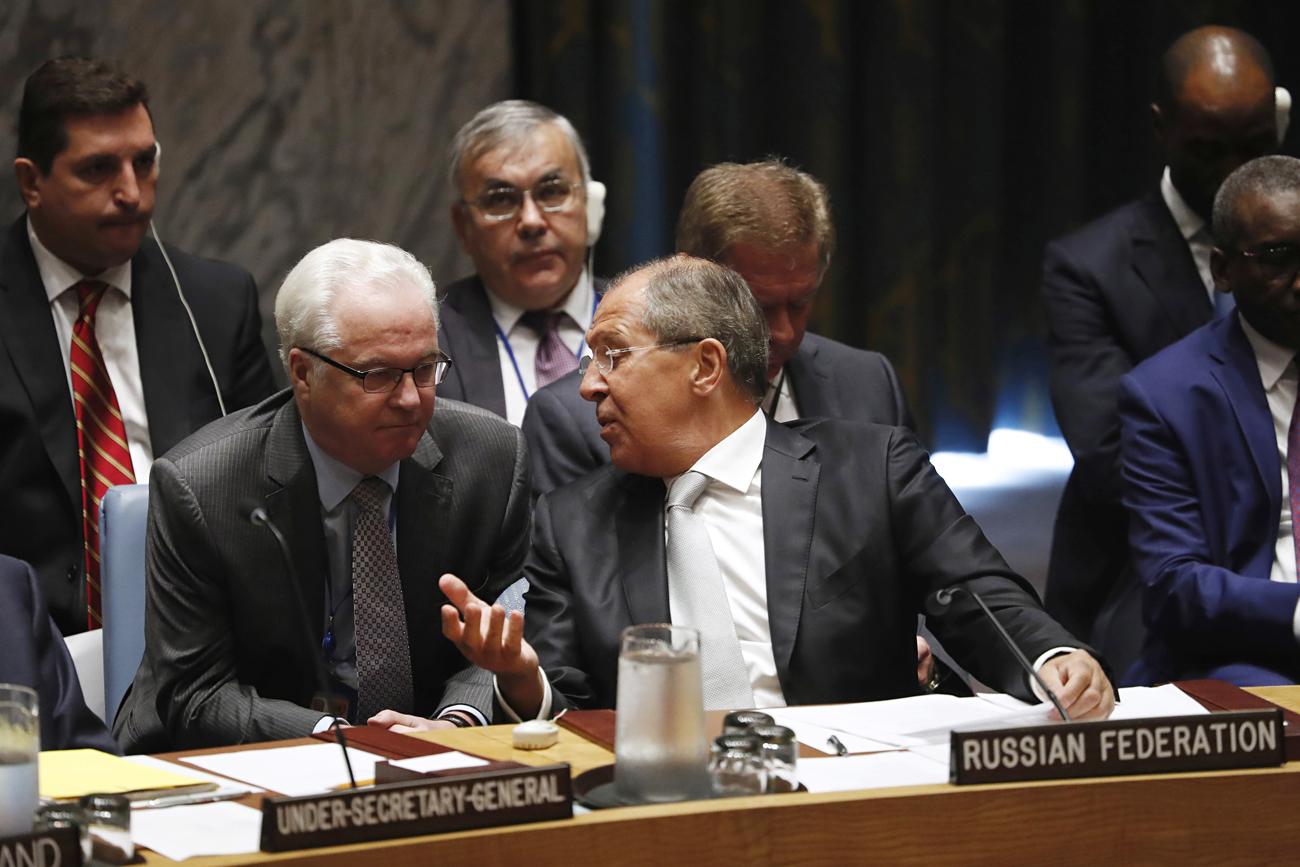L'ambasciatore russo alle Nazioni Unite, Vitalij Churkin e il ministro degli Esteri Sergej Lavrov.