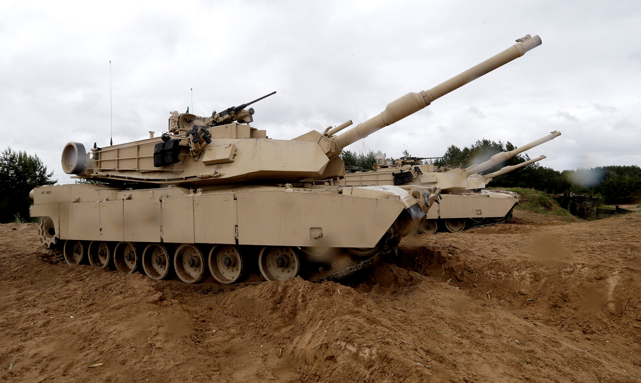 "U.S. M1 Abrams tanks take part in the ""Saber Strike"" NATO military exercise in Adazi, Latvia."