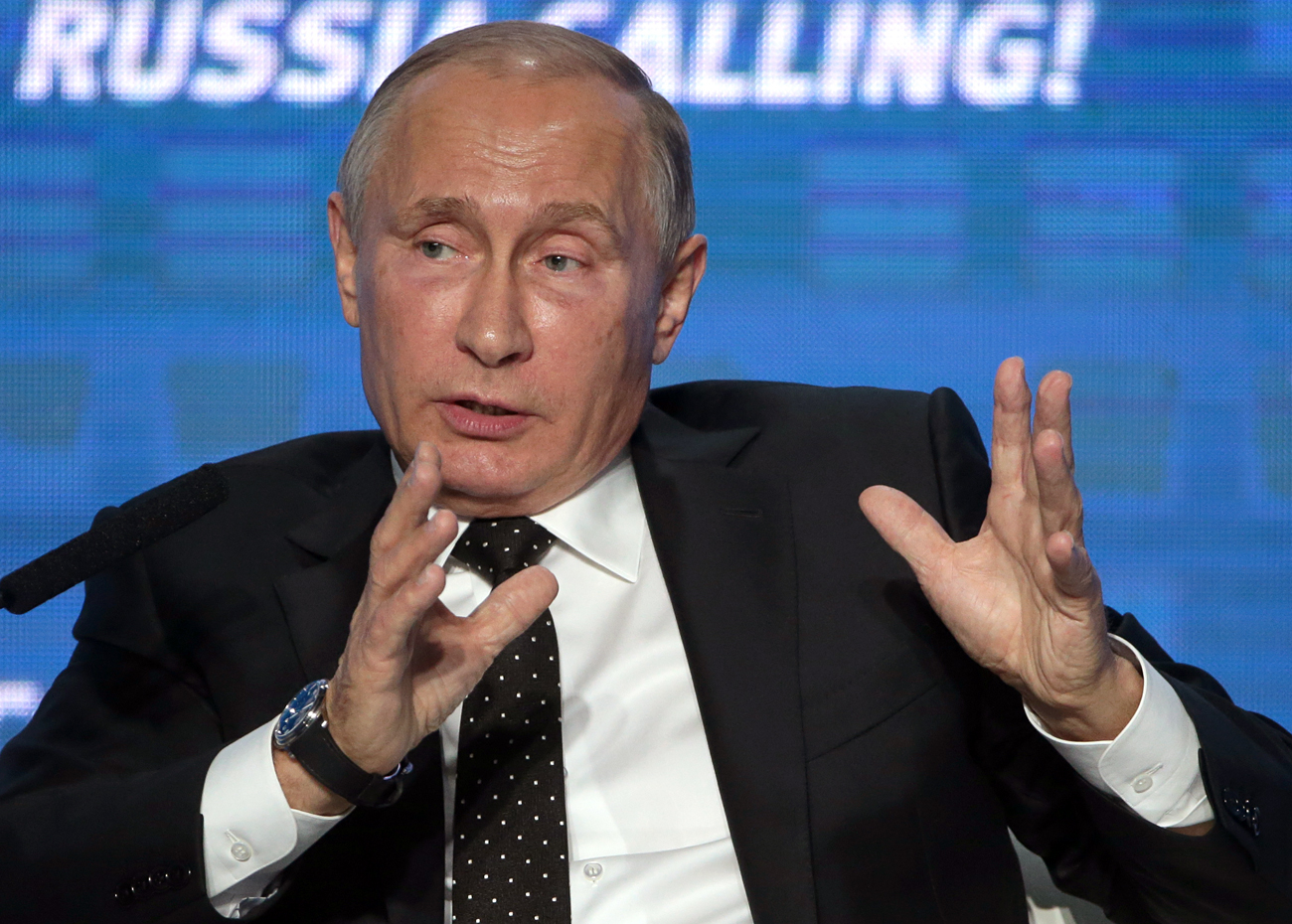 Russia's President Vladimir Putin pictured during a plenary session as part of the 8th VTB Capital Russia Calling! Investment Forum, Oct. 12.
