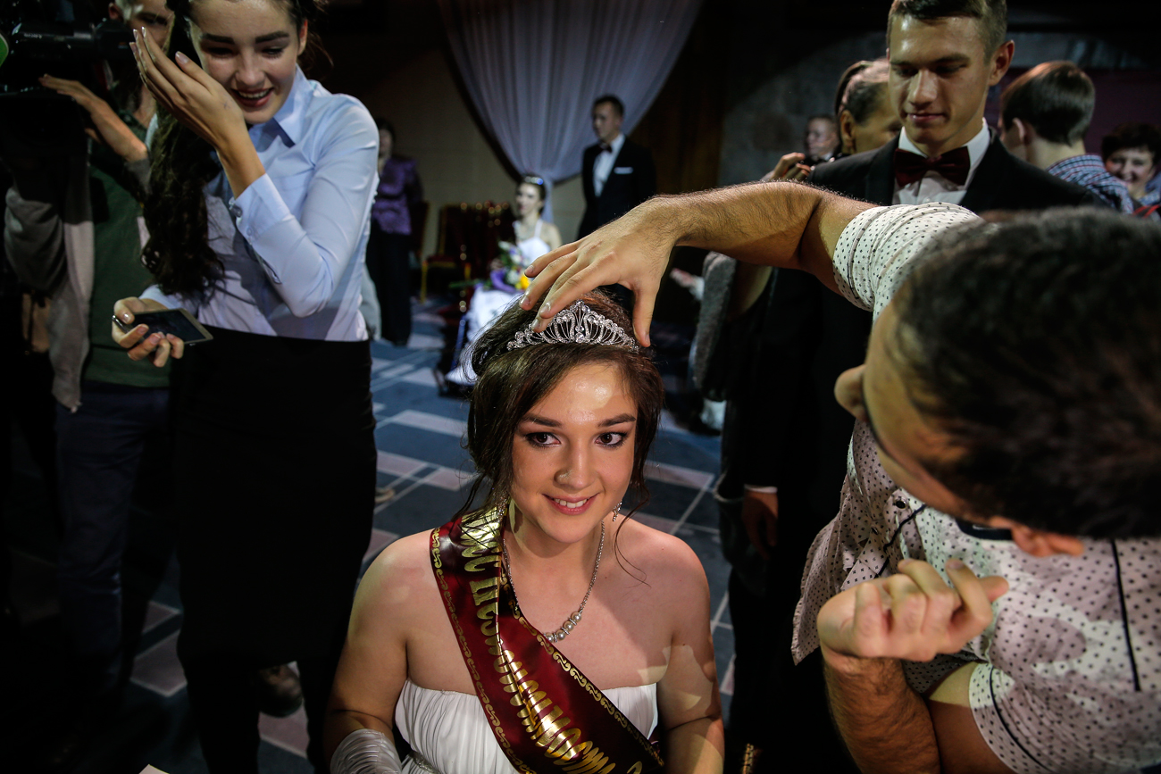 Friends and relatives congratulate Miss Independence 2016 Elena Semakina at the beauty contest for disabled people in wheelchairs, the 'Miss Independence 2016' in Moscow, Russia, 13 October 2016. Nine participants took part at the final of the the beauty contest for disabled people with wheelchairs. Russia has more than 13 million disabled people and 600 thousand of them use wheelchair in their daily life.
