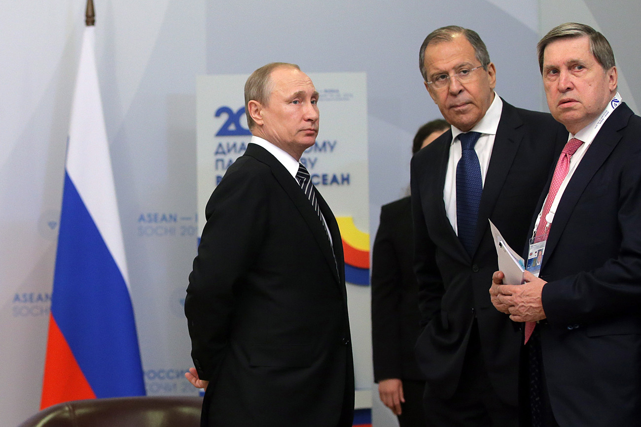 President Vladimir Putin of Russia, Russia's Foreign Minister Sergei Lavrov and Russian Presidential Aide Yuri Ushakov (L-R) at the Radisson Blu Resort & Congress Center in Sochi, Russia, May 19, 2016.