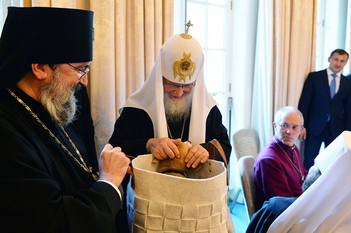 Patriarch Kirill receives corgi.
