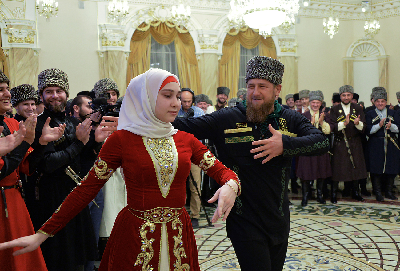 Ramzan Kadyrov during the Chechen Woman Day in Grozny. Source: Said Tsarnaev/RIA Novosti